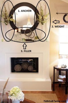 Mantel Decorations : IDEAS INSPIRATIONS :How to Decorate a Mantel---- love the idea for filling the actual fireplace too! Home And Living, Home Living Room, Home, Interior, Fireplace Mantle Decor, Fireplace, Home Staging, Home Decor, Fireplace Mantle