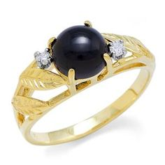 Black Coral Ring with Diamonds in 14K Yellow Gold