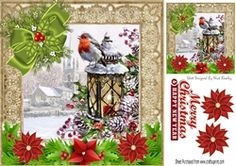 pretty snow scene  with church and robin with bow    poinsettias 8x8 on Craftsuprint - View Now!
