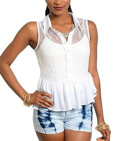 Love this White Peplum Button-Up Tank on #zulily! #zulilyfinds