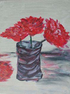 Red flowers original painting original acrylic by Myartspace