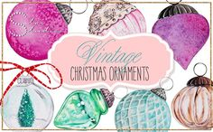 Vintage Christmas Ornaments pack by Star Studios on @creativemarket
