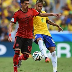 Hector Moreno of Mexico is challenged by Neymar of Brazil
