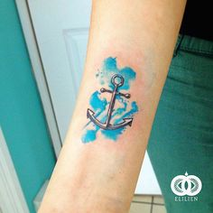 Pequeña ancla. #elilien #tattoo #watercolor #anchor