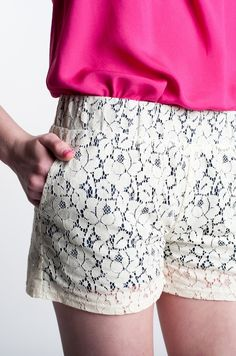 Afternoon Tea White Lace On Navy Shorts by Costa Blanca