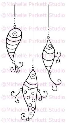 Digital stamp Image Fish Flies Hooks Father's Day Fishing Dad stamping scrapbooking cardmaking