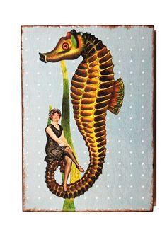 Wanddeko - Kunstdruck auf Holz Seepferd - ein Designerstück von Art-istique bei DaWanda