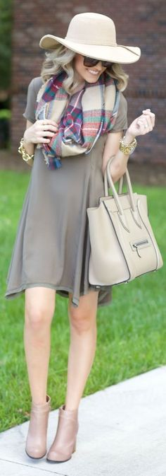 Taupe Trapeze Little Dress Fall Inspo by A spoonful of Style