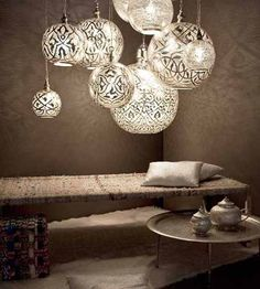 Home Decore Accessories: Unique pendant lights and Arabic decor accessories - Egyptian Style House Design, Arabic Decor, Lighting Design, Decor, Home Lighting, Moroccan Design, Ball Pendant Lighting, Home Decor, Lights