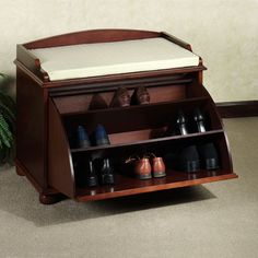 Furniture| Inspiring Shoe Racks Storage and Organization Ideas: Wood Varnish Smart Entryway Bench Shoe Rack Cabinet Furniture With Gray Area Rug And Cozy Seat