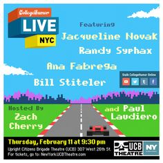 UCB Theater live event from CollegeHumor on Thursday Feb. Saitama, Upright Citizens Brigade, College Humor, Live Events, Tumblr Funny, Funny Posts, It Cast, Nyc, Thursday