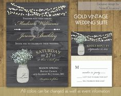 Rustic Wedding Invitations in Gold with Mason by NotedOccasions