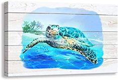 Kas Home Bathroom Canvas Wall Art, Sea Turtle Wall Decor Giclee Rustic Painting Ocean Beach Canvas Prints Framed Artwork for Living Room Bedroom Office Pictures Posters X 12 inch, Sea Turtle - B) Rustic Painting, Framed Artwork, Framed Prints, Canvas Wall Art, Canvas Prints, Beach Bedroom Decor, Artwork For Living Room, Bathroom Canvas, Office Pictures