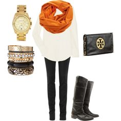 This would be so easy to put together:) The bright, colored scarf is the icing on the cake:)