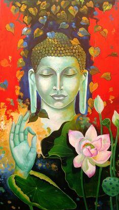 Buy Buddha And Monk Child 3 artwork number a famous painting by an Indian Artist Arjun Das. Indian Art Ideas offer contemporary and modern art at reasonable price. Buddha Kunst, Buddha Zen, Buddha Peace, Gautama Buddha, Budha Painting, Krishna Painting, Buddha Artwork, Indian Folk Art, Indian Art Paintings
