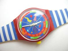 Swatch FANDANGO SLR100 Musicall alarm watch, colorful design by Alessandro Mendini // 35 USD