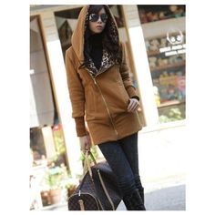 Buy Zipper Decorate Thicken Hooded Coat Ochre with cheapest... via Polyvore