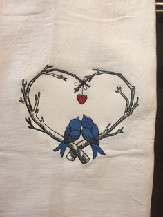 Love birds sketch embroidered flour sack towel by CraftDivaCreations on Etsy Love Birds Drawing, Bird Drawings, Ink Pen Drawings, Art Drawings Sketches, Easy Drawings, Butterfly Sketch, Bird Sketch, Lovebird Tattoo, Love Bird Tattoo Couples