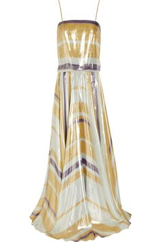 Stripey beautifulness. Lanvin Striped silk-blend lamé gown.