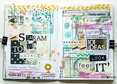 made by Mumka ► SODAlicious art journal challenge love the ransom lettering here Journal Themes, Art Journal Pages, Art Journals, Art Journal Challenge, Glue Book, Mixed Media Journal, Altered Art, Altered Books, Collage Art
