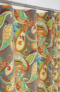 PAISLEY Shower Curtain 72 X 72 Gray Turquoise U0026 By PondLilly