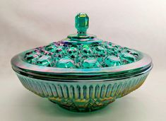 Stunning Indiana Glass Company 7 -1/2 inch Highly Iridescent Carnival Glass Candy Dish with Lid Very Sharp Colors Elegant No Chips Ref 19246