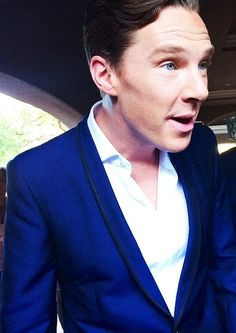 """""""Benedict Cumberbatch ❤ #Cutie."""" It's amazing that the color of his eyes often seems to match what he's wearing"""
