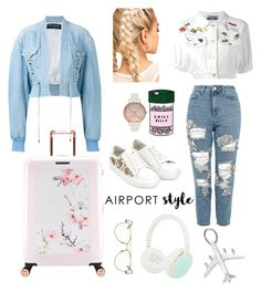 """""""#airportstyle"""" by taniapauleen ❤ liked on Polyvore featuring Balmain, Moschino, Topshop, Monsoon, ban.do, Ted Baker, Olivia Burton, Kate Spade and Garrett Leight"""