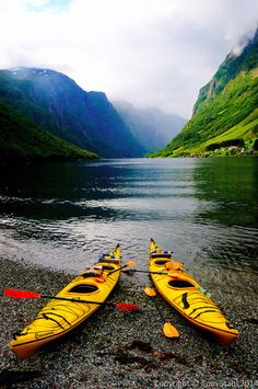 Sogn og Fjordane Fylke, Norway - Kayaking down the fjord