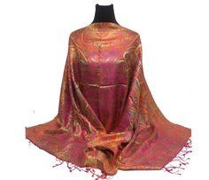 100% Silk-Shawl-Premuim-Pashmina-shawl-Scarf-Paisley-Wrap-Soft-Warm-GIFT-Reversible-wedding-bridal-bride-pink-green-orange-green-purple-blue by PashminaaCollection on Etsy