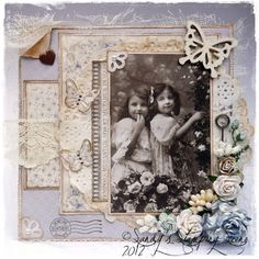 "Vintage Card by DT Member Sandra Mathis, using an image from Pion Design and papers from Pion Design's ""For Mother"" collection."