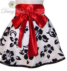 hostess apron SALE 1/2 OFF cocktail special occasion holiday flirty white,black and red circle skirt DaisyDots Design by DaisyDotsDesign on Etsy