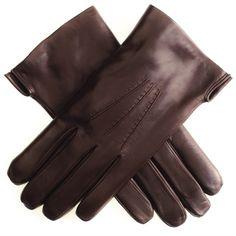 #Men's Dark #Brown #Leather #Gloves with #Rabbit #Lining
