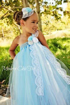 Lace & Pearls Tutu Dress French Blue