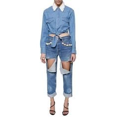 Forte Couture Bow Denim Shirt ($363) ❤ liked on Polyvore featuring tops, blue top, denim shirt, denim top, shirt top and bow shirt