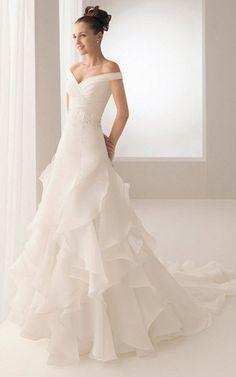 A-Line Brautkleid mit gekappten Ärmeln mit Rüschen