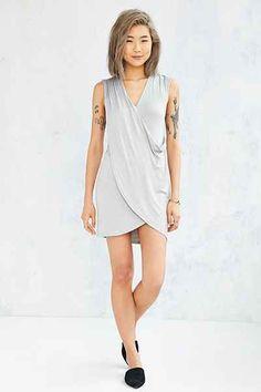 Silence + Noise Drapey Surplice Mini Dress