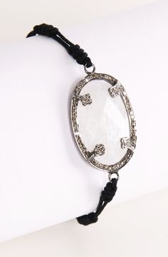"Pave Diamond ""OPAL"" Bracelet on Black Leather Adjustable band"
