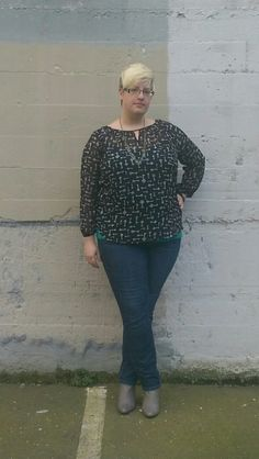Fatshion OOTD. Booties, Aldo, DSW.  Jeans, Torrid.   Tank, F21+.  Top, tag removed, Burlington Coat Factory.  Necklace, thrifted, Goodwill.  This is one of my more casual work outfits. It's easy and comfortable...