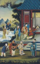 A CHINESE REVERSE PAINTING ON GLASS OF VARIOUS IMMORTALS AND OTHER FIGUREShttp://www.christies.com/