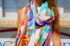 Get this adorable printed scarf for $10 and re-create this trendy white on white summer look!