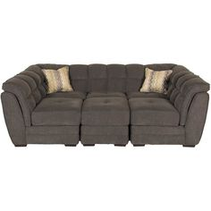 Cushy Clio Gray 4-Piece Pit Sectional by Vogue Furniture. Cool gray color & pillow top padding brings oversized comfort to your living room.