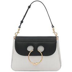 j.w.anderson Black & white medium pierce bag ($1,340) ❤ liked on Polyvore featuring bags, handbags, black and white bag, black white handbag, black and white purse, two tone bag and circle handbag