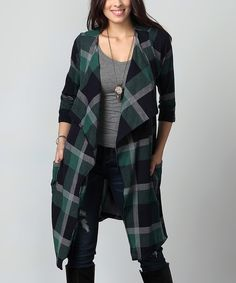 Look what I found on #zulily! Green Plaid Drape Pocket Cardigan - Plus by Reborn Collection #zulilyfinds