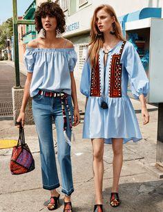 Explorez la ville avec la nouvelle collection printemps femmes: blouses et robes aux coupes féminines, couleurs gaies, accessoires inspirés des voyages.