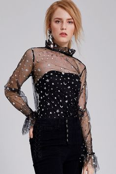 Maria Star Moon Mesh Blouse Discover the latest fashion trends online at storets.com