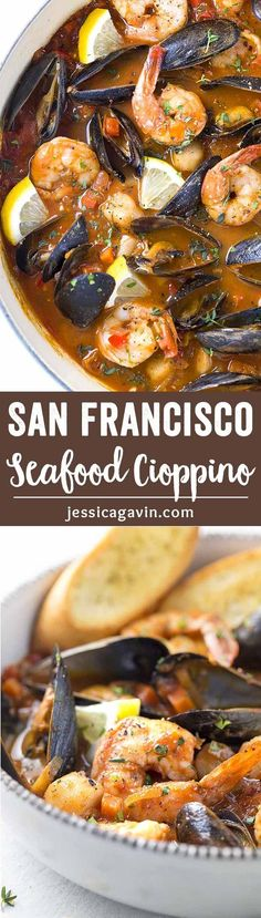 San Francisco Style Seafood Cioppino - A pot of fresh mussels, shrimp, and scallops simmered in a savory tomato and red wine broth. Served with homemade crunchy croutons! via @foodiegavin