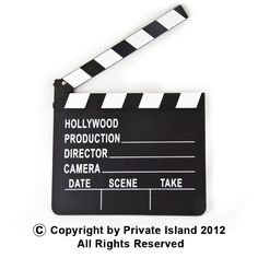 "Private Island Party  - Movie Clapper Board 1724, $1.50 - $2.99    And... Action! The Movie Clapper Board is a great prop for those who have always dreamed of becoming a movie director. Bring this useful tool with you to whatever ""set"" you happen to find yourself on. This could be a park, a crowded restaurant, the line at the grocery store checkout. ""TAKE TWO!"" you shout as you snap the clapper board in the face of the woman in front of you at the register."