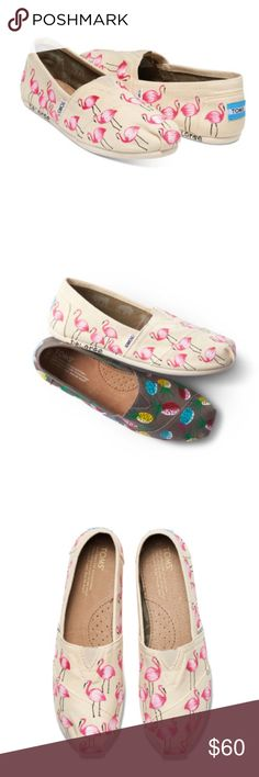 🌴LOW PRICE🌴Haiti Artist Flamingo Toms Size 5.5, true to size, designed by Haitian artists from the Toms Artist Collective, hand painted, inspired feom the Caribbean wildlife, the outsole displays the artist's signature, unique, exclusive touch, toe stitch elastic gore for easy fit, molded footbed for increased cushioning, rubber outsole for no-slip grip.                            🐣n o • t r a d e s🐣                    s m o k e • f r e e • h o m e             s a m e/n e x t • d a y • s…