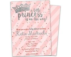 Pink princess baby shower invitation with sparkling tiara princess baby shower invitations pink silver princess baby shower invites tiara baby shower invite princess shower glitter confetti filmwisefo